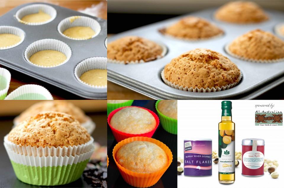 Muffins mit Zitronenmyrte und Macadamias