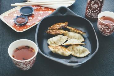 Mandu-Teigtaschen mit Macadamia, Schweinefleisch und Pilzen