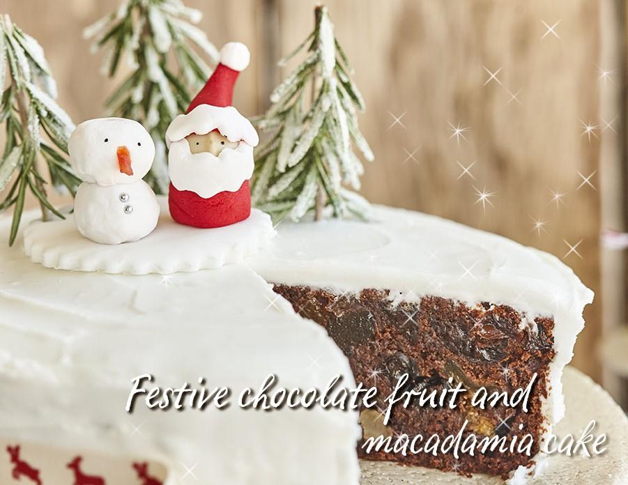 Festlicher Schokoladen-, Obst- und Macadamia-Kuchen
