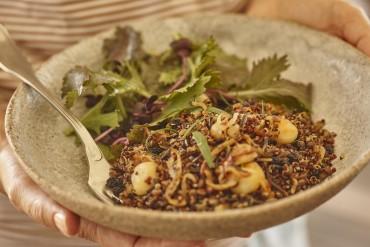 Quinoa-Salat mit Wildreis, Linsen und Macadamias