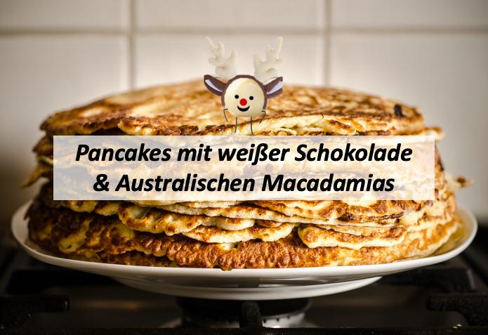 Pancakes mit Macadamias und weißer Schokolade